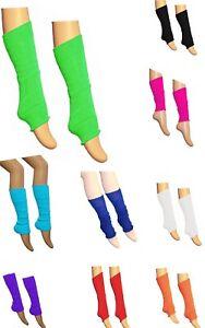 Children Kids Girls Boys Neon Plain Leg Warmers Dance Wear Multiple Colours