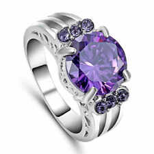 Purple Amethyst 10KT White Gold Filled Engagement Ring Women's Jewelry Size 8