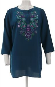 Linea Louis Dell'Olio Crepe Gauze Top Embroidery Dark Teal M NEW A341734