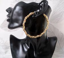 8.5cm huge GOLD tone twisted chain mail design CLIP ON hoop earrings - Big hoops