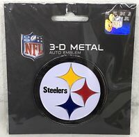 NFL Pittsburgh Steelers 3-D Metal Auto Emblem Officially Licensed Peel and Stick