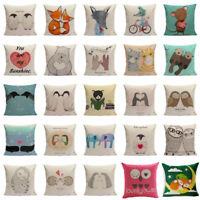 Cotton Linen Cartoon Animal Pillow Case Sofa Cushion Cover Fashion Home Decor