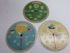 """Vintage """"AT-A-GLANCE"""" GEOGRAPHY CARDBOARD  DISC CHARTS - Lot of Three (3)"""