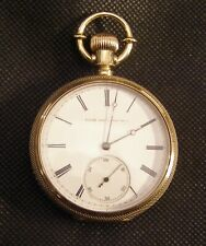 14 Karat Yellow GOLD 1880 ELGIN Open Face Pocket Watch Lever set