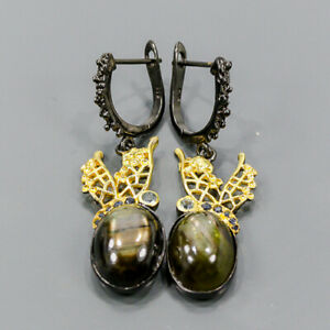 One of a kind Black Star Sapphire Earrings Silver 925 Sterling   /E57168