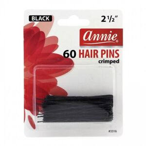 "ANNIE 60 PCS HAIR PINS BLACK BALL TIPPED 2 1/2"" CRIMPED #3316"