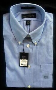 KENNETH ROBERTS Platinum Blue pin striped Button Down Shirt Sz 15.5 34/35 NWT
