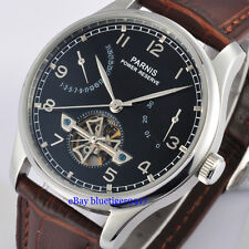 Parnis 43mm Seagull Power Reserve Movement Men's Automatic Watch Black Dial