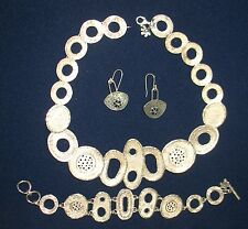 UNIQUE HANDMADE BY G.R.A.S SOLID 925 STERLING SILVER NECKLACE EARRINGS BRACELET