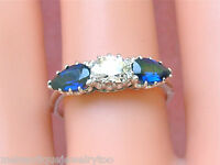 ANTIQUE .54ct OVAL DIAMOND 1ctw PEAR BLUE SAPPHIRE PLATINUM 3-STONE RING 1930