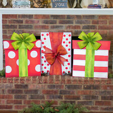 Big Christmas Present Outdoor Holiday Decoration (Set of 3)