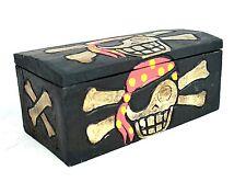 Hand Carved Wood Pirate Bandanna Skeleton Treasure Box Chest Cross Bone Skull