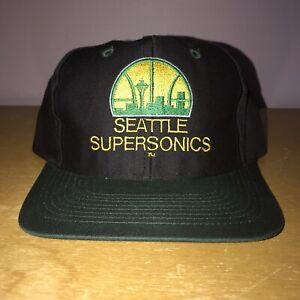 VINTAGE DEADSTOCK SEATTLE SUPERSONICS SONICS SNAPBACK HAT KEMP PAYTON