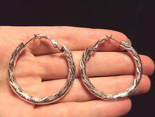 shiny striped textured round hoop loop silver tone stud omega back earrings