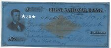 1878 Us Revenue Stamped Paper Check First National Bank Kendallville Indiana