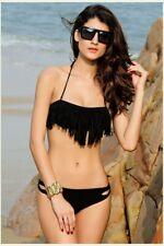 Black Fringe Bikini Swimsuit Medium Halter Bandeau Womens Swimwear NEW