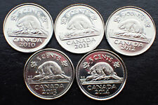 5 X Canadian Nickel 5 cents Coin Canada 2010 2011, 2012, 2013 & 2014 UNC.