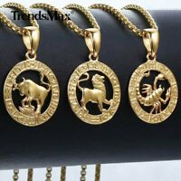 "12 Zodiac Sign Constellation Pendant Necklace 18-24"" Gold Filled Box Link Chain"