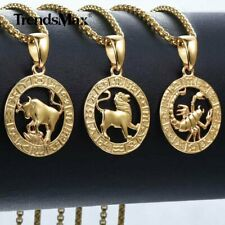 """12 Zodiac Sign Constellation Pendant Necklace 20"""" Box Chain Gold Filled Jewelry"""