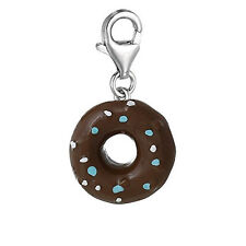 Resin Doughnut Clip On Charm Pendant For European Jewelry w/ Lobster Clasp
