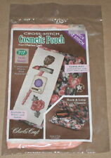 "Charles Craft ""Cosmetic Pouch"" w/ 14 Count Cross Stitch Insert 5x8"" Peach Print"