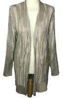Chico's size 1 sweater gold metallic cardigan beige brown long linen blend