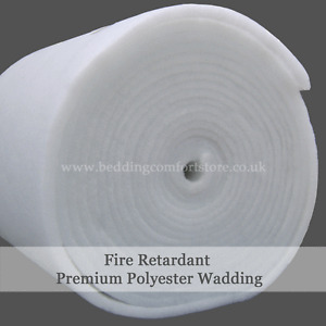 """Polyester Wadding Roll Fire Retardant Quilting Upholstery Padding 27""""/54"""" Wide"""