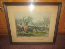 Antique 1841 Woodcock Hunting Print, Plate 4, Charles Hunt, Painted: F.C. Turner