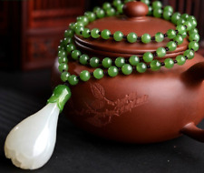 Chinese handcarved 100% Natural Nephrite White Jade Magnolia pendant necklace
