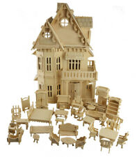 Dolls House with Furniture Wooden Scale Model Wood 3D Puzzle DIY Doll House