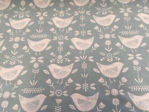 Fryetts Narvik Scandi Birds Seafoam printed cotton fabric