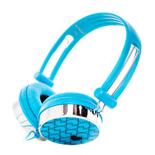 Kids Childs Teens Over-Ear Love Heart Funky DJ Blue Headphones for iPod MP3 DVD