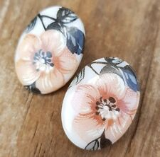Vintage Earrings Pink Floral Clip-Ons Clips Jewellery Jewelry Costume Milk Glass