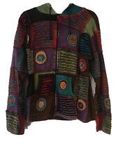 Rainbow Striped Ribbed Jacket Pixie Hoodie Hippie Nepal Festival Elf Boho Coat