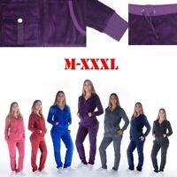 Women Winter Warm 2Pcs/Set Velvet Tracksuit Full Zip-up Hooded Sweatshirts Pants