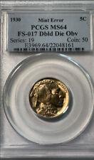 1930 Buffalo Nickel Doubled Die Obverse FS-017 (FS-101) PCGS MS 64