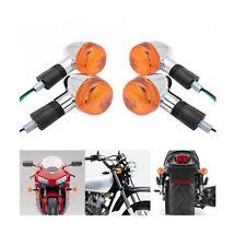 4x Amber Motorcycle Chrome Bullet Front Rear Turn Signal Blinker Indicator Light