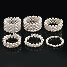 Vintage Multi-layer style faux white Pearl Bracelet Rhinestones Bangle Jewelry