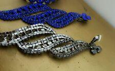 CLIP ON chandelier Royal Blue RHINESTONE  earrings drag queen beauty pageant