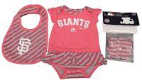 MLB San Francisco Giants Majestic Girls Infant 3 Piece Skirt Creeper Bib & Boots