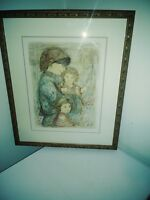 "Edna Hibel Original Signed ""Mother and Her Children"" Limited Edition 29/150 NR"