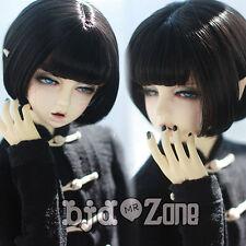 """8-9"""" 22-24cm Handsome Black Pear Flower Short hair For 1/3 SD BJD Doll Wig"""