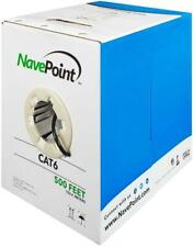 NavePoint Cat6 (Cca), 500ft, White, Ethernet Cable, 550Mhz, 23Awg 4 Pair, Twis.