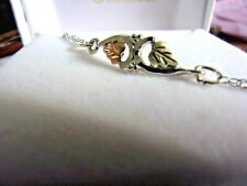 silver Anklet - 10 inch 12 k Gold Leafs on