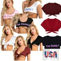 "Women Summer Casual ""YES Daddy"" Hip-Hop Tops Blouse T-Shirt Crop Tank Top Shrugs"