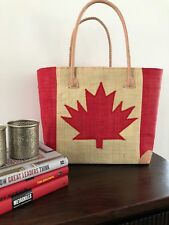 Canada flag  Maple leaf Straw Raffia Woven Tote Basket Beach Bag Handbag Red