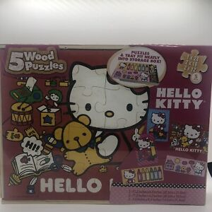 5 Wood Puzzles Hello Kitty with Tray and Storage Box