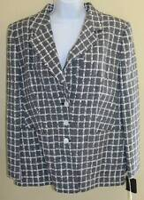 NWT LOUIS FERAUD -Sz 16 46 $1255 Woven French Navy White Tweed Jacket Blazer