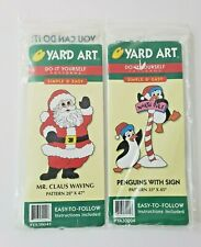 New ListingNew Sealed 1998 Yard Art Woodworking Patterns, Mr. Claus Waving, Penguins W/Sign