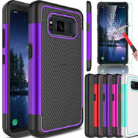 For Samsung Galaxy S8 Active Hybrid Armor Hard Phone Case/Glass Screen Protector